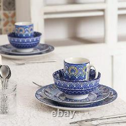 Vancasso 48pcs Blue Porcelain Dinner Set Boho Mandala Dessert Plates Bowl Mugs