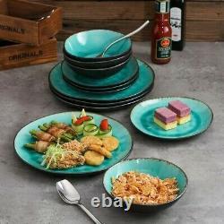 Vancasso Aqua Blue 12pcs Set Dinner Stoneware Dish Dessert Plates Cereal Bowls