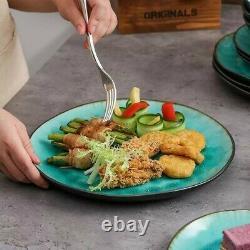 Vancasso Aqua Blue 24pcs Dinner Set Stoneware Dish Dessert Plates Cereal Bowls
