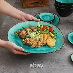 Vancasso Aqua Blue Dinner Set Stoneware Serving Dish Dessert Plates Cereal Bowls