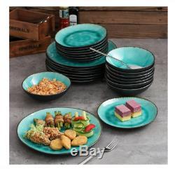 Vancasso Aqua Dinner Set Stoneware Vintage Look Ceramic 24-Piece Dinnerware
