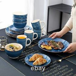 Vancasso Bella Dinning Set Kitchen Blue Soup Bowls Dinner Dessert Plates Mugs UK