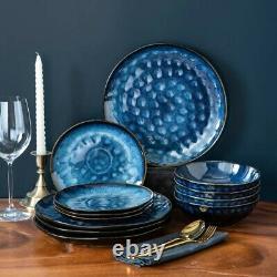 Vancasso Blue 12pc Set Dinner Stoneware Serving Dish Dessert Plates Cereal Bowls