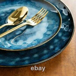 Vancasso Blue 24pc Set Dinner 8 person Serving Dish Dessert Plates Cereal Bowl