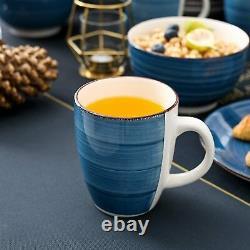 Vancasso Blue Crockery Set Kitchen Tableware Dinner/Dessert Plates Bowls Mugs UK