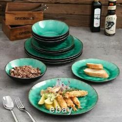 Vancasso Coco Vintage 12pcs Set Dinner Stoneware Dish Dessert Plates Cereal Bowl