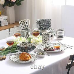 Vancasso HARUKA 48X Grey Dinner Set Porcelain Dessert Soup Plates Dish Bowls Mug