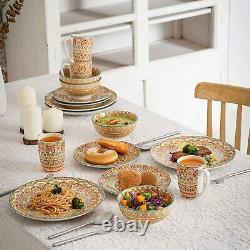 Vancasso Mandala 32pc Ceramic Dinner Set Yellow Dining Plates Bowl Mug Tableware