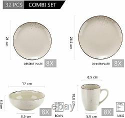 Vancasso Navia 32pc Ceramic Tableware Set Kitchen Dinner Plates Bowl Mugs Beige