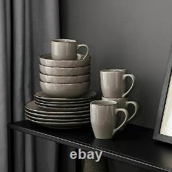 Vancasso Navia 32pcs Porcelain Grey Dinner Set Kitchen Side Plates Cereal Bowls