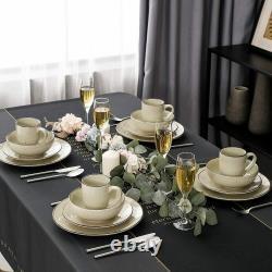 Vancasso Navia Beige Dinner Set Stoneware Serving Plates Cereal Bowl Coffee Mugs