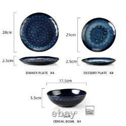 Vancasso Star 12pc Set Dinner Stoneware Serving Dish Dessert Plates Cereal Bowls