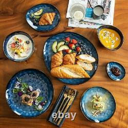 Vancasso Star Blue 23PCS Set Dinner Stoneware Dish Dessert Plates Cereal Bowls
