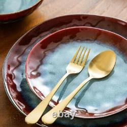 Vancasso Star Red 12PCS Set Dinner Stoneware Dish Dessert Plates Cereal Bowls