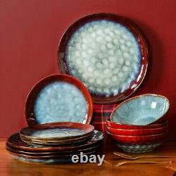 Vancasso Star Red 36PCS Set Dinner Stoneware Dish Dessert Plates Cereal Bowls