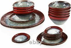 Vancasso Starry 22pcs Dinnerware Set Ceramic Kiln Glaze Plates Platter Bowl Red