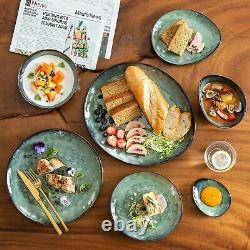 Vancasso Starry 23pcs Dinner Set Kiln Glaze Porcelain Service Plates Bowl Green