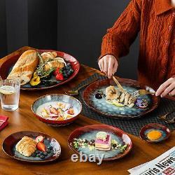 Vancasso Starry 23x Dinner Set Kiln Glaze Ceramic Plate Bowl Serving Platter Red