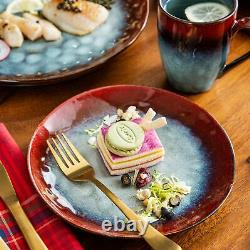 Vancasso Starry Dinner Set Vintage Ceramic Red Stoneware Serving Plates Bowls