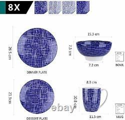 Vancasso TAKAKI 32 Piece Dinner Set Blue Crockery Dinnerware Dining Plates Bowls