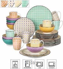 Vancasso Tulip Tableware Set 32pcs Porcelain Dinner Plates Dessert Bowls Mugs UK