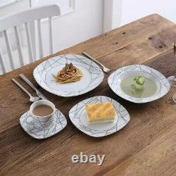 Veweet Serena 60PCS Ceramic Porcelain Dinner Set Plates Bowls Cups Tableware
