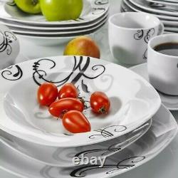 Veweet Zoey 60PCS Ceramic Porcelain Dinner Set Plates Bowls Cups Tableware Mugs
