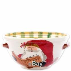 Vietri Old St. Nick Handled Medium Bowl with Santa Reading