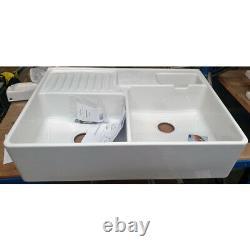 Villeroy & Boch Butler 90 2 Bowl White Ceramic Kitchen Sink Graded Refurbished