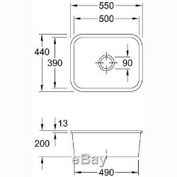 Villeroy & Boch Cisterna 60c 1.0 Bowl White Ceramic Undermount Sink NO WASTE