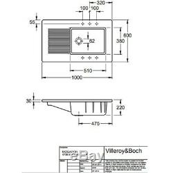 Villeroy & Boch Mogador 1.0 Bowl White Ceramic Lay/Sit On Kitchen Sink-NO WASTE
