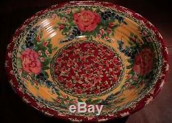 Vintage 90's Sandy Kreyer HUGE Porcelain Ceramic Floral Painted Serving Bowl Set