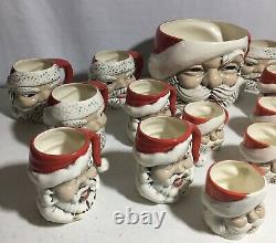 Vintage Christmas 1973 Ceramic Santa Claus Eggnog Punch Bowl 17 Mugs