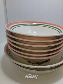 Vintage Himark Buona San Remo Stripe Pasta Bowls Serving Set Of 8 Ceramic Italy