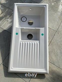 White 1.5 Bowl Ceramic Reversible Kitchen Sink Made From Resistant Fireclay
