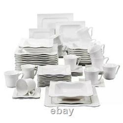 White 60pcs White Porcelain Dinner Set Serving Plates Cups Saucers 12 Person