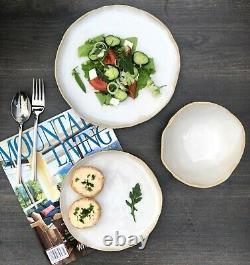 White Ceramic Dinnerware Set of Dessert, Dinner Plates, Soup Serving Salad Bowls