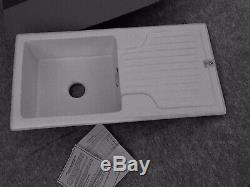 White Gourmet Ceramic Single Bowl Kitchen Sink, 1010 x 510 x 240mm, RRP £282