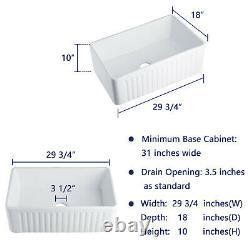 White Rectangle Ceramic Farmhouse Apron Kitchen Sink SIngle Bowl 30 L x 18 W