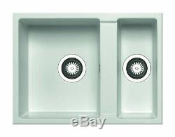 White Undermount 1.5 Bowl Quartz Kitchen Sink (Reversible)