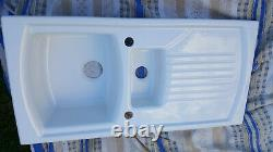 White ceramic kitchen sink 1.5 bowl, NEW-unused includes waste Sonnet by Denby