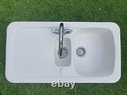 Wickes Ceramic Farmhouse 1.5 Bowl Sink White