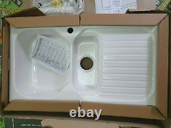 Wren Astracast Swale 1.5 Bowl White Ceramic Kitchen Sink RHD + Waste & Plumingki